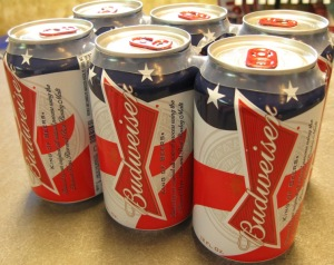 Budweiser six packs with Stars and Stripes